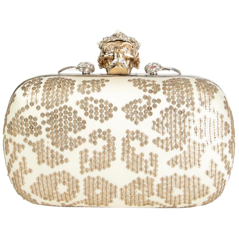 ALEXANDER MCQUEEN white gold SEQUIN CORWN SKULL Box Clutch Bag For Sale