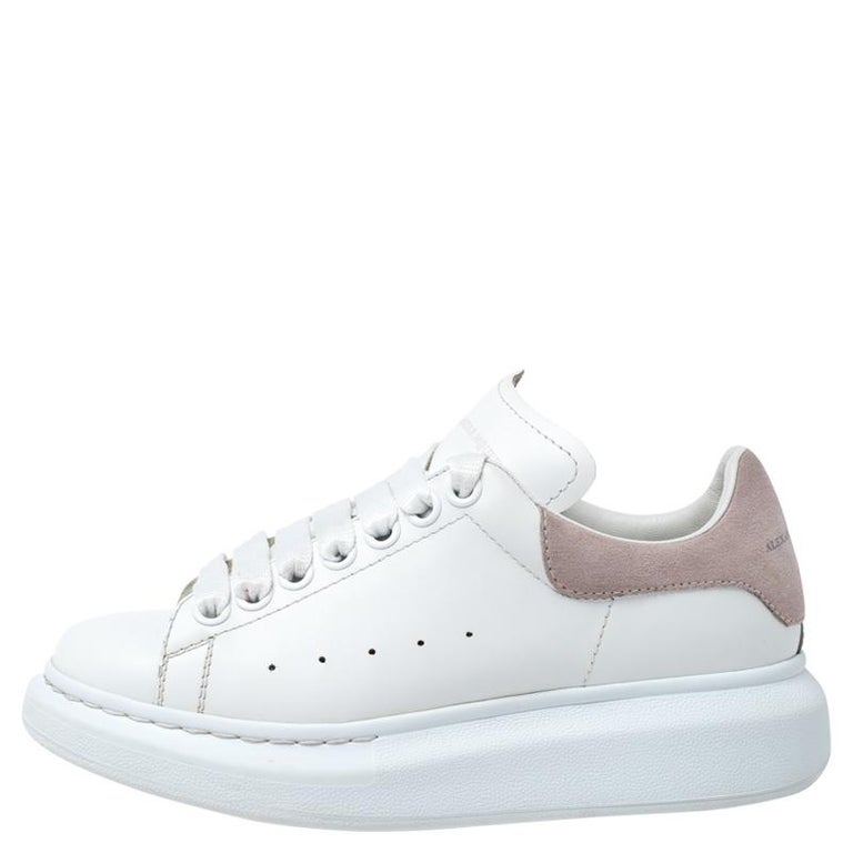 Women's Alexander McQueen White Leather And Beige Suede Platform Sneakers Size 35 For Sale