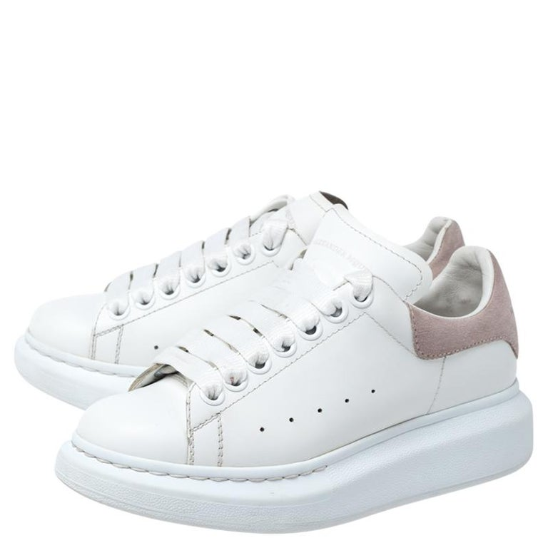 Alexander McQueen White Leather And Beige Suede Platform Sneakers Size 35 For Sale 1