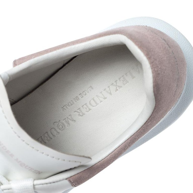 Alexander McQueen White Leather And Beige Suede Platform Sneakers Size 35 For Sale 2