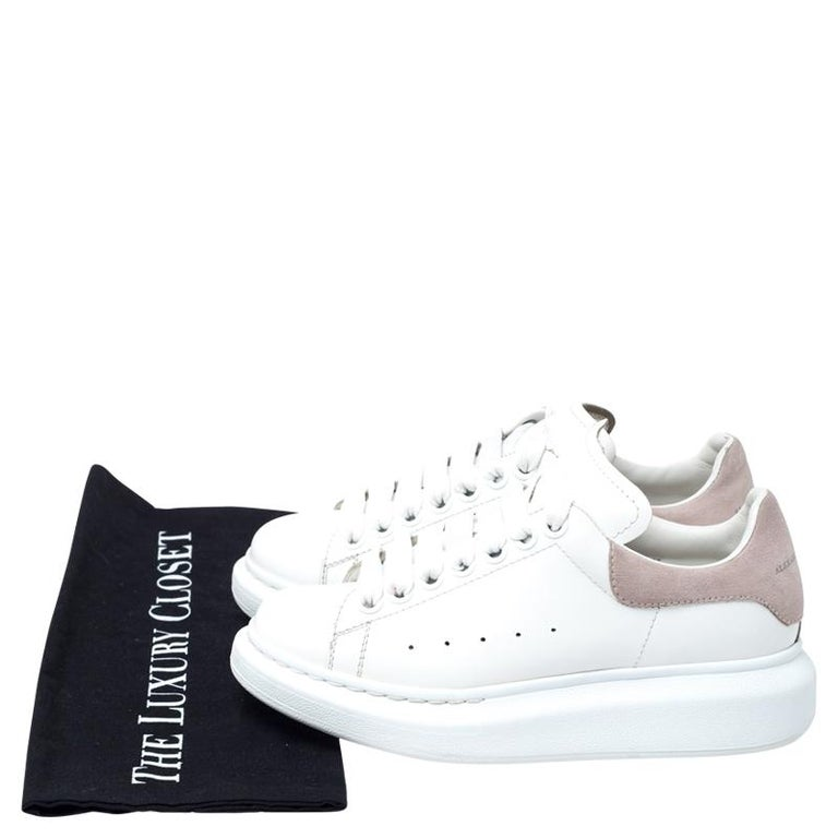 Alexander McQueen White Leather And Beige Suede Platform Sneakers Size 35 For Sale 3