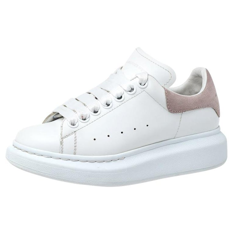 Alexander McQueen White Leather And Beige Suede Platform Sneakers Size 35 For Sale
