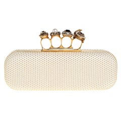 Alexander McQueen White Leather Studded Four Ring Knuckle Clutch