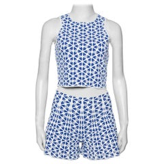 Alexander McQueen White & Navy Blue Floral Jacquard Crop Top and Short Set S