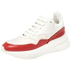 Alexander McQueen White/Red Leather and Fabric Oversized Runner Low Top Size 35