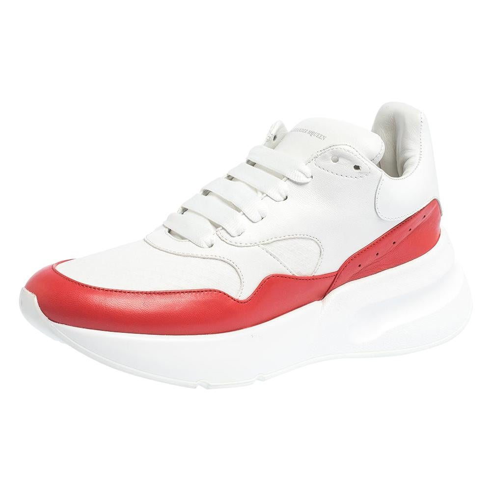 Alexander McQueen White/Red Leather And Mesh Oversized Runner Low Size 40