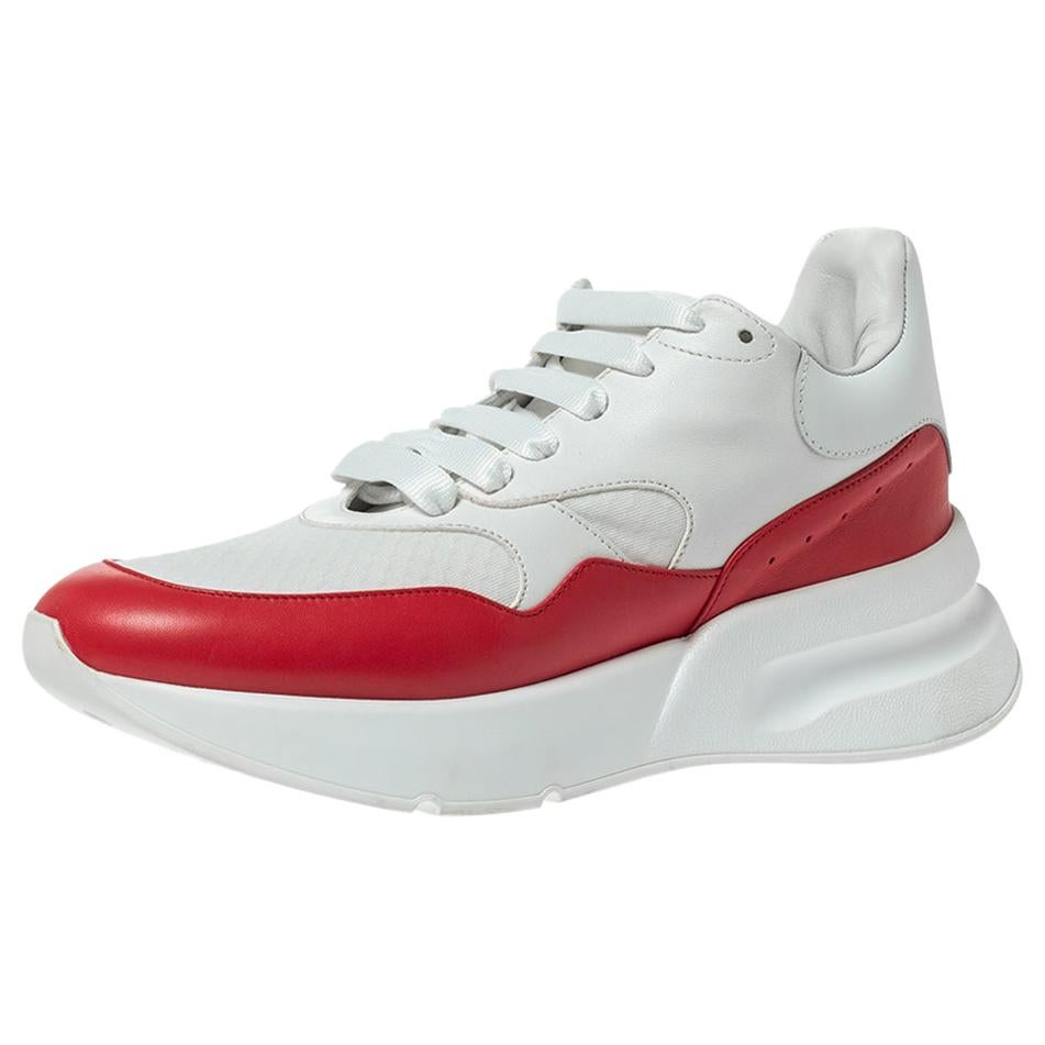 Alexander McQueen White/Red Leather And Mesh Oversized Runner Sneakers Size 41