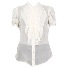 Alexander McQueen white silk SHEER RUFFLED Button Up Shirt 44 L