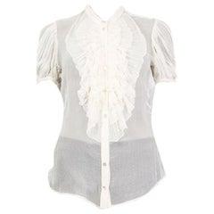 Alexander McQueen white silk SHEER RUFFLED Button Up Shirt 44 L