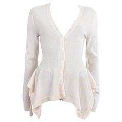 ALEXANDER MCQUEEN white wool PEPLUM Cardigan Sweater M