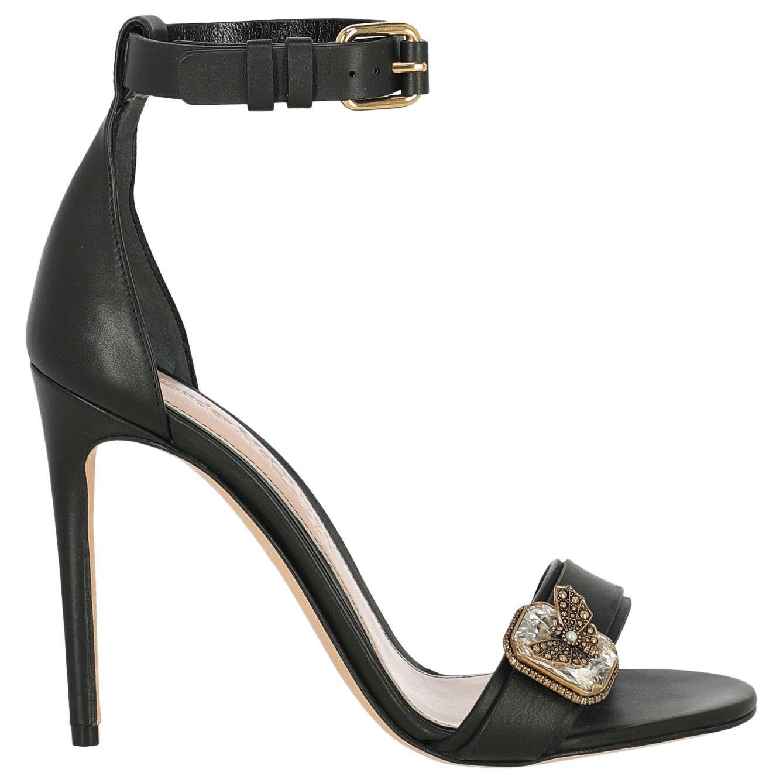 Alexander Mcqueen Woman Sandals Black Leather IT 37.5