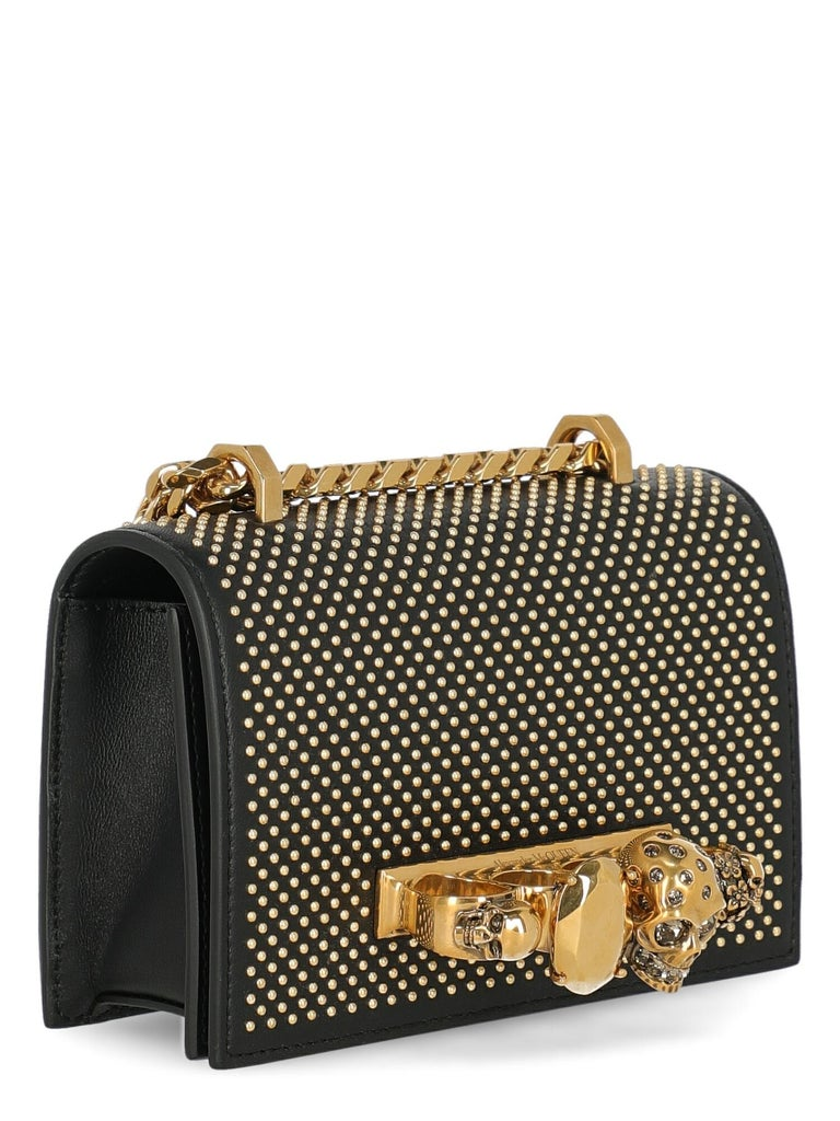 Alexander Mcqueen Woman Shoulder bag  Black Leather In Excellent Condition For Sale In Milan, IT