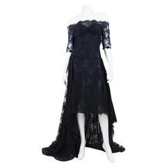 Alexander McQueen Women's Black Lace Long Sleeve Sheer Gown
