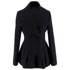 Alexander McQueen Wool Blend Peplum Black Jacket 42