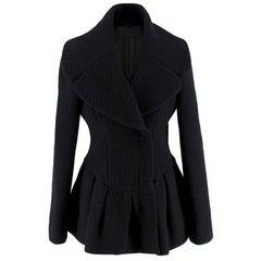 Alexander McQueen Wool Blend Peplum Black Jacket - Size US 6