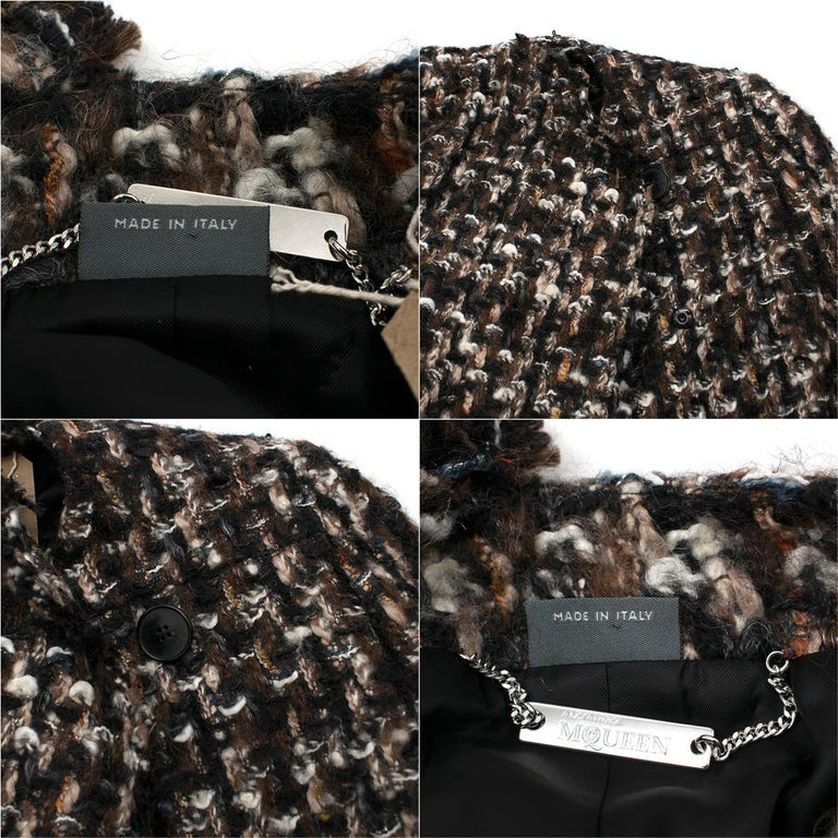 Alexander McQueen Wool Braided Long Coat US 4 For Sale 2
