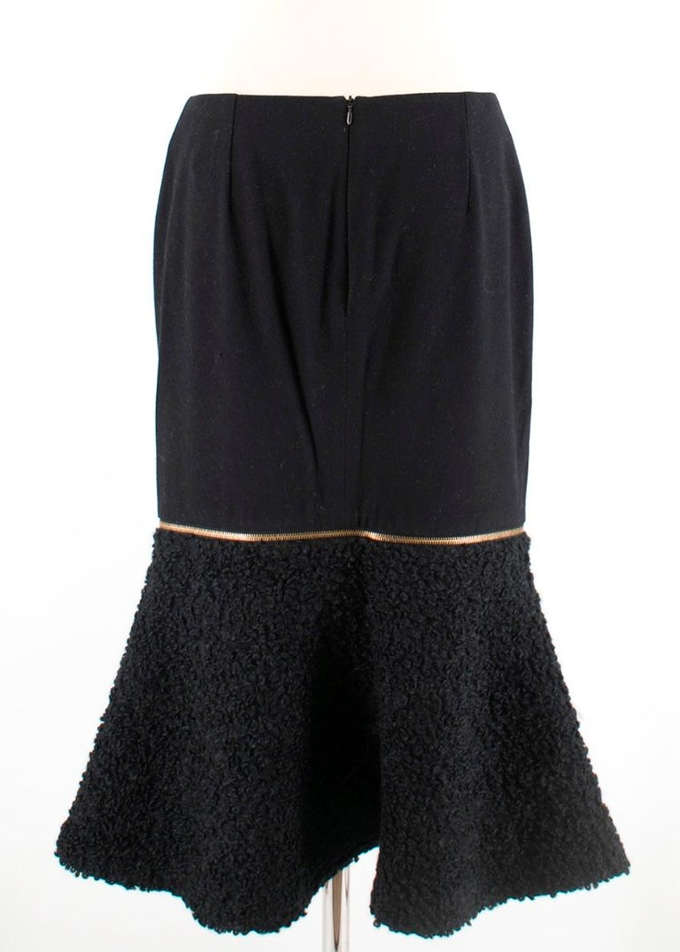Alexander McQueen Wool & Mohair Blend Flared Zip Detail Midi Skirt In New Condition For Sale In London, GB