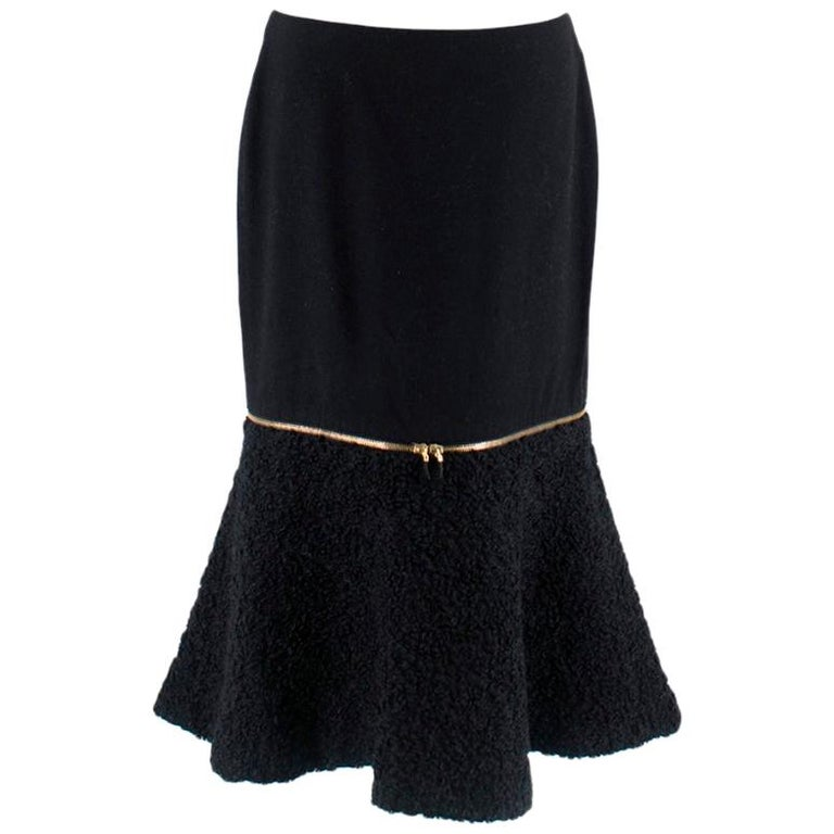 Alexander McQueen Wool & Mohair Blend Flared Zip Detail Midi Skirt For Sale