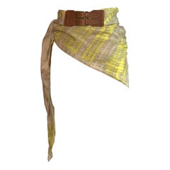 Alexander McQueen 2000s Yellow and Pink Silk Scarf Tie Dye Belt