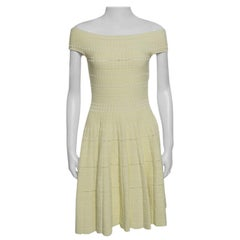 Alexander McQueen Yellow Stretch Perforated Knit Fit and Flare Dress M