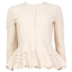 ALEXANDER MCQUEEN YELLOW viscose PERFORATED PEPLUM Cardigan Sweater S