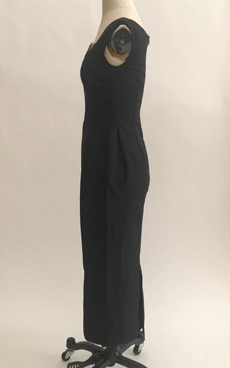 Women's Alexander McQueen 2005 Black Silk Sleeveless Midi Wiggle Dress with Lace Trim For Sale