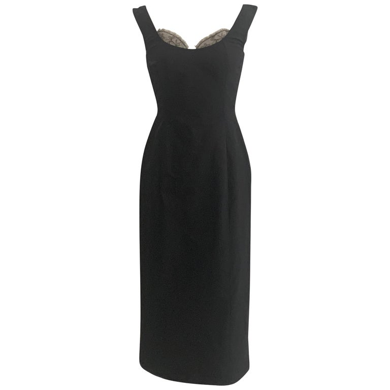 Alexander McQueen 2005 Black Silk Sleeveless Midi Wiggle Dress with Lace Trim For Sale