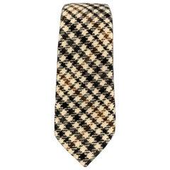 ALEXANDER OLCH Black & Tan Plaid Cashmere Skinny Tie