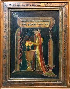 Mixed Media Modernist Sculptural Judaica Painting SHABBAT CANDLES