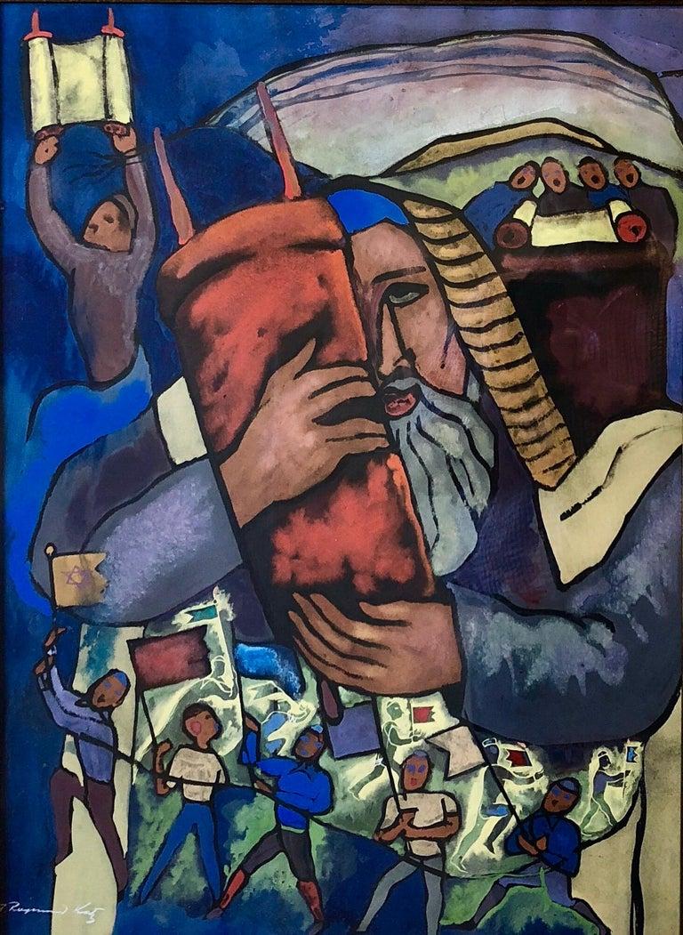 Chicago Jewish Modernist Judaica Painting Simchat Torah WPA Artist Israeli Flags - Black Figurative Art by Alexander Raymond Katz