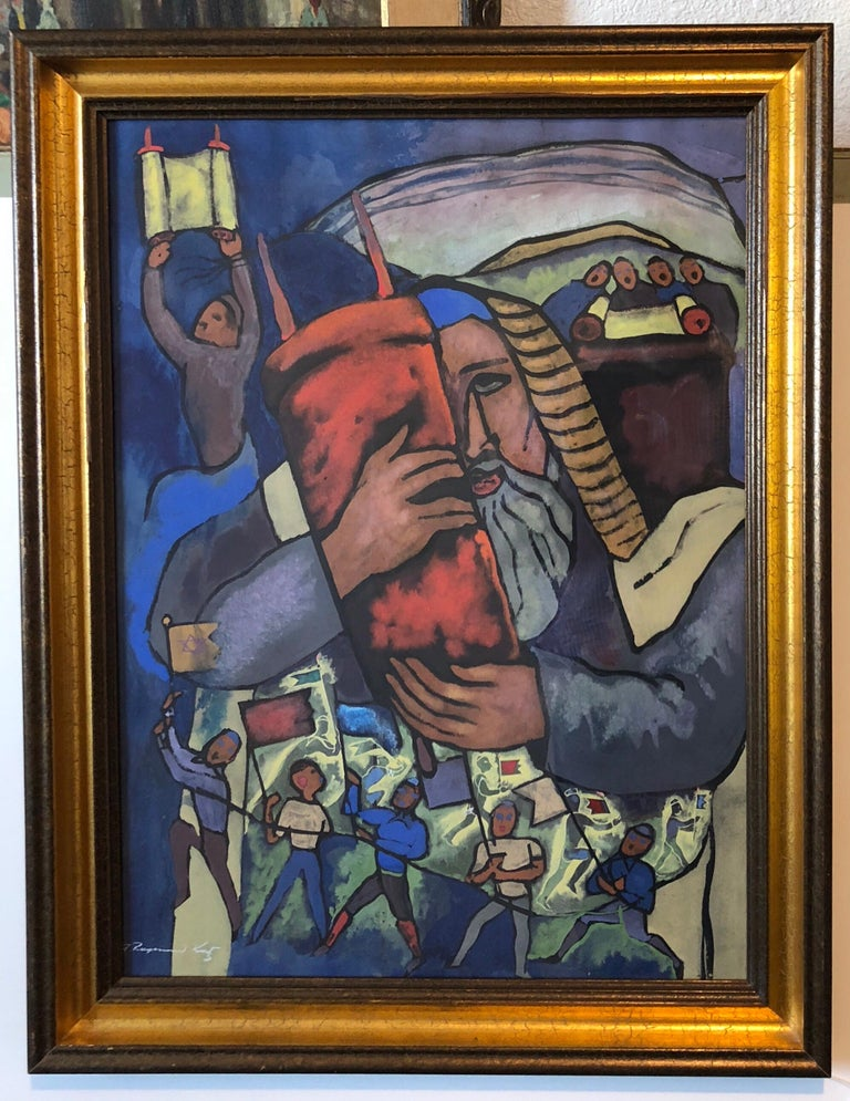 This has young ISraeli pioneers dancing with the flag as typical of works of the late British mandate Palestine era early state of Israel.  Genre: Modern Subject: Figurative (stained glass style) Medium: Mixed media gouache on paper Hand signed