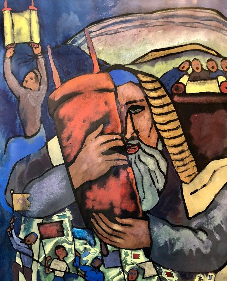 Chicago Jewish Modernist Judaica Painting Simchat Torah WPA Artist Israeli Flags For Sale 1