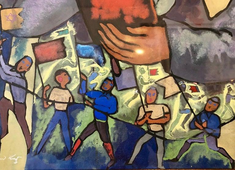 Chicago Jewish Modernist Judaica Painting Simchat Torah WPA Artist Israeli Flags For Sale 2