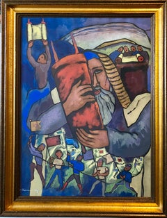 Chicago Jewish Modernist Judaica Painting Simchat Torah WPA Artist Israeli Flags