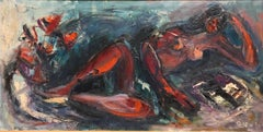 Large Expressionist Oil painting Reclining Nude