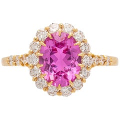 Alexander Reza Natural Unheated Pink Sapphire and Diamond Ring