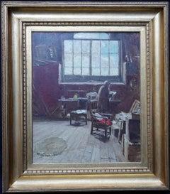 The Artist's Studio - Scottish 1914 Glasgow Boy art exh interior oil painting