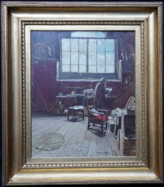The Artist's Studio - Scottish 1914 Glasgow Boy art exh interior oil painting