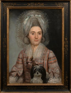 Portrait of Marie Camille, Countess de Lalaing and her dog, 18th Century