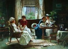 Gossips! - 19th Century Oil, Elegant Women & Dog in Interior by Alexander Rossi
