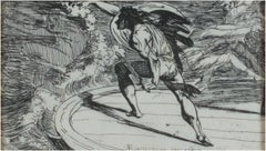 """Cormar Attacking a Spirit on the Waters,"" neo-classical etching by A. Runciman"
