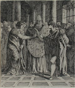 """Marriage of St. Margaret and King Malcolm,"" Original Etching by A. Runciman"