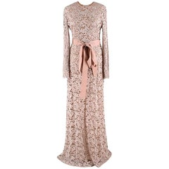 Alexander Terekhov Nude Lace Long-Sleeve Gown US6
