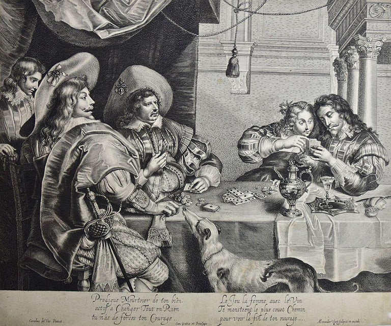 "Alexander Voet Interior Print - An Early 17th Century Engraving ""The Card Game"" by A. Voet after Cornelis de Vos"