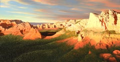 """""""Night Flight Over Sedona Red Rocks"""", Alexander Volkov, Oil on Canvas, Landscape"""