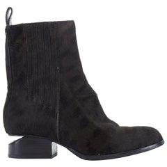 ALEXANDER WANG Anouk black leopard print pony leather cut out heel boot EU35 US5