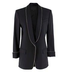 Alexander Wang Bead-Embellished Black Wool-Blend Blazer SIZE 2