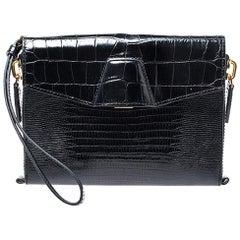 Alexander Wang Black Croc Embossed Leather Lydia Wristlet Clutch