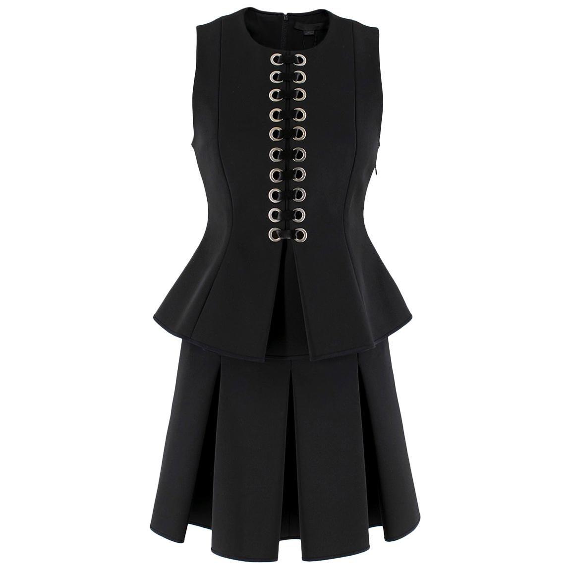 Alexander Wang Black Lace-Up Peplum Top & Pleated Skirt  Top- 2, Skirt- 4 (XS)