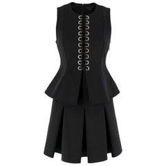 Alexander Wang Black Lace-Up Peplum Top & Pleated Skirt  Top- 2, Skirt- 4